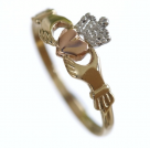 Three Colour Gold Claddagh ring. Rose,white,yellow gold